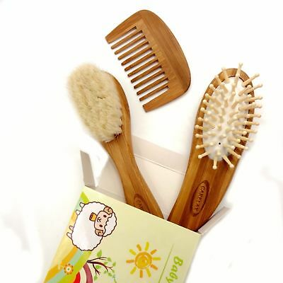 Soft Goat Baby Hair Brush Eco-Friendly Wood Handle + Wooden Cutie Comb
