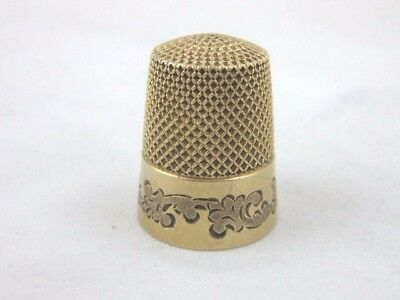 Antique Solid Gold   AMERICAN THIMBLE  Marked  14K