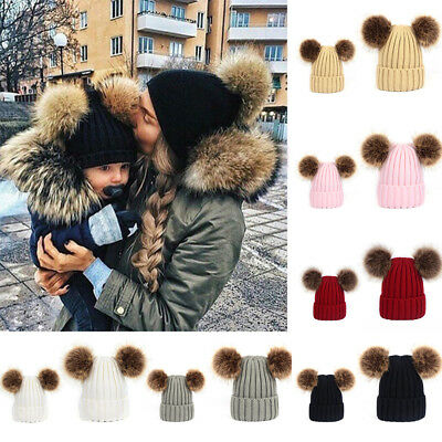 Winter Warm Mom&Newborn Baby Boy Girls Double Fur Pom Bobble Knit Beanie Hat Cap