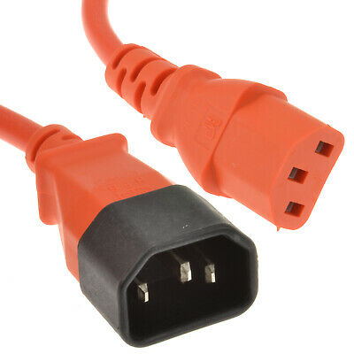Power C14 to C13 Extension Cable IEC Male to Female Lead Orange 0.5m