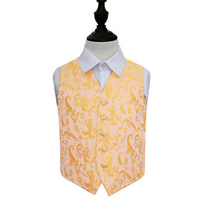 DQT Woven Floral Gold Page Boys Wedding Waistcoat 2-14 Years