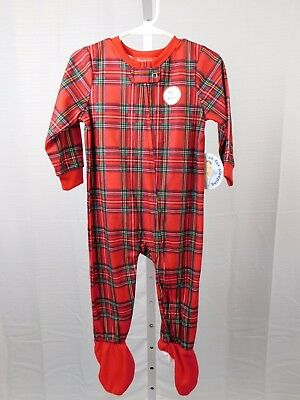 Family PJs Brinkley Plaid Christmas Holiday Zip Footed Pajamas 2T-3T Red #5954