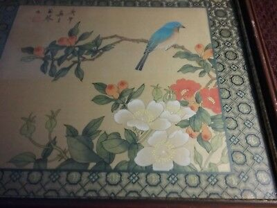 Antique Japanese signed woodblock bird and flowers unknown artist Estate sale
