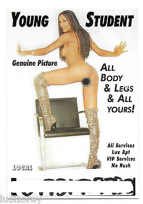 Carte A27 Flyer Young Student Miss Nue Topless Pin-Up Sexy Services Vip Lux Apt