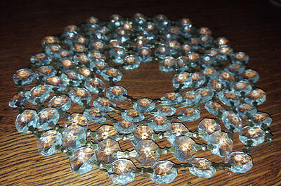 "90"" Vintage Art Deco Crystal and Brass Chandelier Strands 108 Crystals FREE S/H"