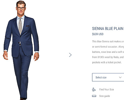 $639 *CURRENT MODEL* Suitsupply Sienna 40R Blue Birdseye Suit >SUPER 130s WOOL<