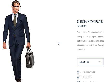 $639 *CURRENT MODEL* Suitsupply Sienna 40R Navy Plain Suit **PURE ITALIAN WOOL**