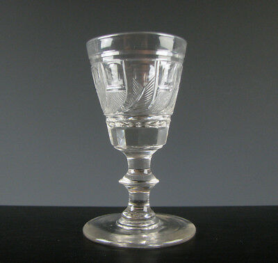 Antique Free Blown and Cut Flint Glass Wine Stem Pittsburgh 19th C.