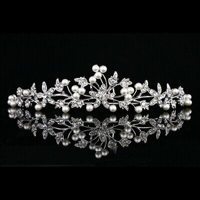 Silver Wedding Bridal Headpiece Rhinestone Crystal Pearls Floral Tiara V881