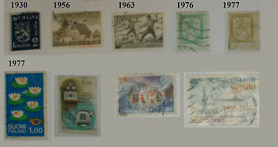 Finland stamps - Nine stamps ranging from 1930 - 1977