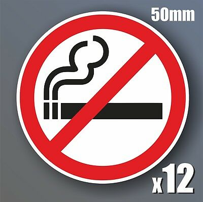 12 x No Smoking Stickers 50mm waterproof vinyl signs window car taxi van shop