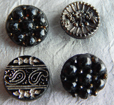 Lot of Antique Vintage Black Glass Button w/ Silver Luster Paisly Flower #315-A