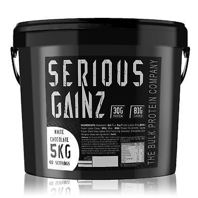 Serious Gainz Weight Gainer 5kg Muscle Mass Gain Protein Powder Shake White Choc