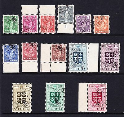 St Lucia 1949 Complete Set Sg 146-159 Fine Used.