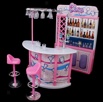 Doll House Miniature Bar Wine Bottles Stools Play Set For Sindy Dolls