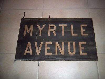 Nyc Subway Sign Rare 1936 Bmt Myrtle Avenue Brooklyn New York Roll Sign Ny Art