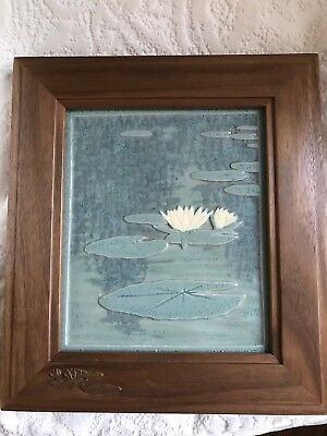 Framed Pottery Tile After Monets Garden