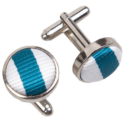 DQT Woven Fabric Inlay Cuff Links Thin Stripe White & Teal Mens Cufflinks