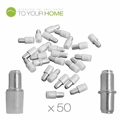 Pack of 50 5mm Shelf Supports, Steel Plug in Pegs with Plastic Covers for Glass