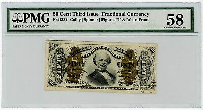 Fr. 1332 Fifty Cent 50c 3rd Third Issue Fractional Currency Ch AU58 PMG