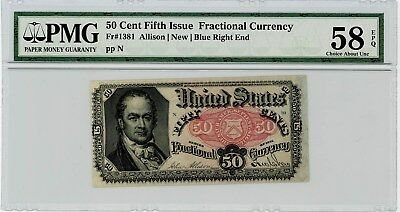 Fr. 1381 Fifty Cent 50c 5th Fifth Issue Fractional Currency Ch. Unc 58 EPQ PMG