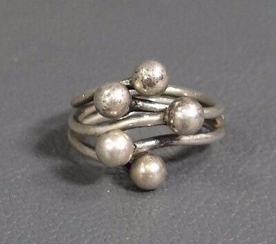 Antique Art Nouveau Deco Sterling Silver Ring Jewelry~ 5 Balls Sphere Design Top
