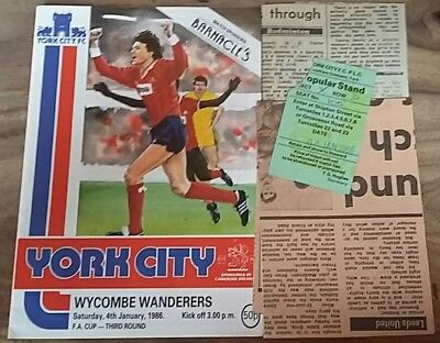 York City v Wycombe Wanderers (FA Cup) 1985/86 inc ticket & match reports
