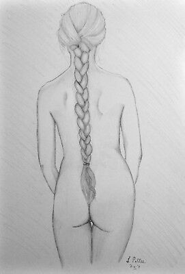 Original Young Female Study with Plait Drawing Signed naked sensual nude art