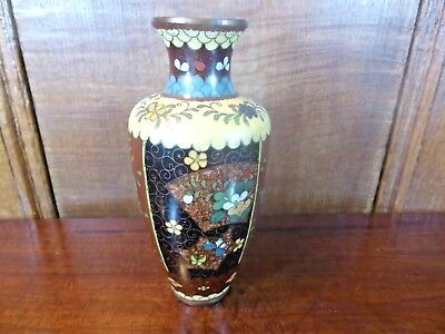 ANTIQUE JAPANESE MEIJI Cloisonne VASE/POT with GOLDSTONE - 6""