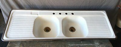 Vtg Mid Century Cast Iron Drop In Sink Porcelain Double Basin Drainboard 751-17E