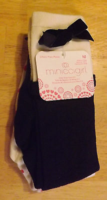 NEW with tags, 2 pair girls knee socks, fits girls shoe size 9-3