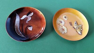 2 Mid Century Vintage BUTTERFLY & FLOWER Enamel on Copper Small Pin Dishes Trays