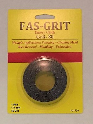 "Fas-Grit 1"" x 10' Emery Cloth Roll-80 Grit Aluminum Oxide Multiple Applications"