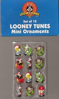 Looney Tunes Mini Ornaments/Package Tie ons Set of 12 Christmas NEW!