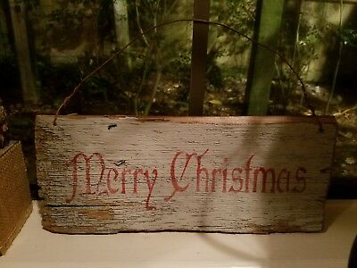 Primitive FoLk ArT Merry Christmas Wooden Sign Rusty Wire Hanger Rustic Old Wood