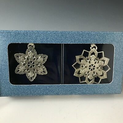NEW Set of Two Longaberger Pewter Snowflake Christmas Ornaments