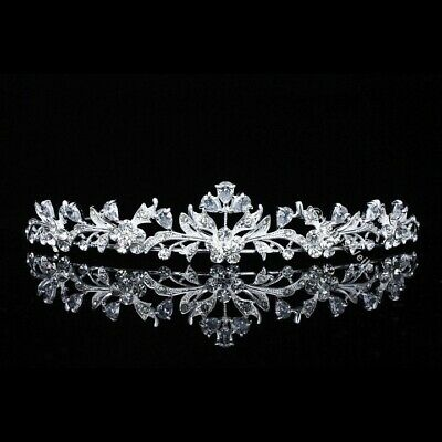 Flroal Bridal Headpiece CZ Crystal Rhinestone Prom Wedding Tiara V703