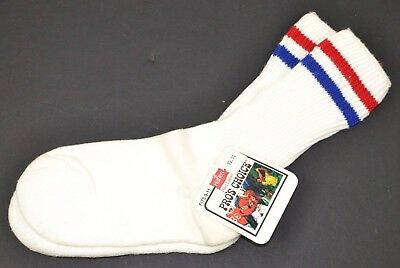 Vtg HANES Pro's Choice Striped Athletic Crew Socks Women's 9-11 Red/Blue