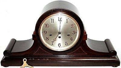 Antique Running Massive Junghans Carved Mahogany Inlaid Westminster Mantel Clock