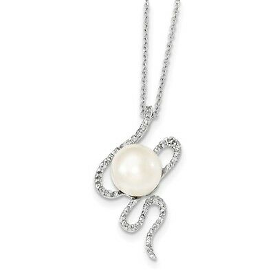 Sterling Silver 17in 10-11mm White FW Cultured Pearl CZ Necklace