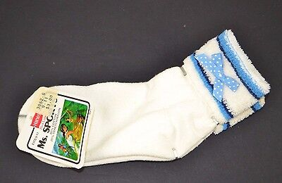 Vtg Hanes Ms. Sports Soft TERRY CUFF Women's Athletic Ankle Socks BLUE BOW