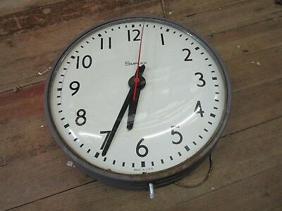 "Old Vintage Simplex 13"" Clock Industrial Machine Age Runs Bubble Glass Nice NR"