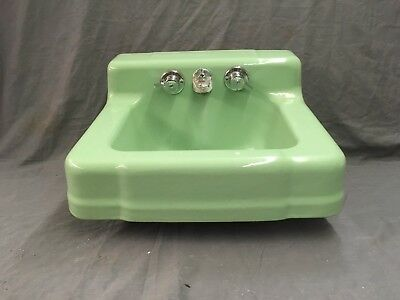 Vtg Jade Green Porcelain Cast Iron Shelf Back Sink Old Bath Salavge 754-17E
