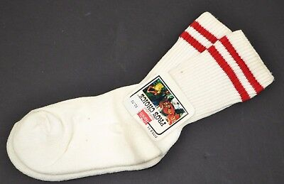 Vtg HANES Pro's Choice Striped Athletic Crew Socks Women's 9-11 Red Stripe