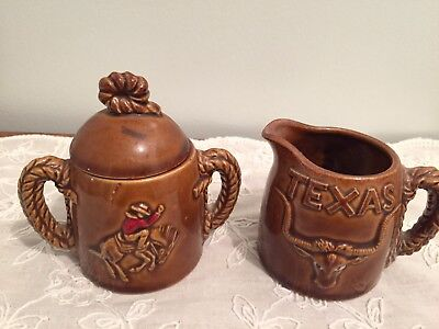 W.N. Co Ceramics Small Cream Pitcher-Lidded Sugar Bowl Set TEXAS Emblems - Japan