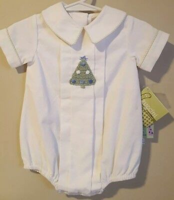 Zuccini Corduroy Collared Bubble Christmas Pine Tree White Green 3m Baby Infant