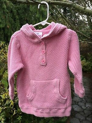 Hanna Andersson Toddler Girl's Pink Hooded Sweater Tunic Size 100 / Size 4T