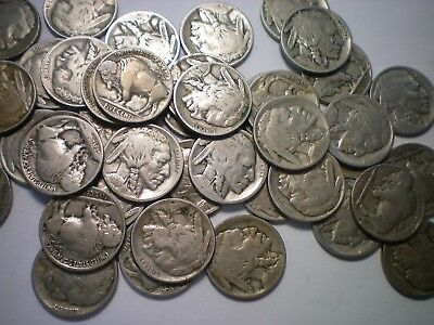 """1913 To 1918, 1921 """"p"""" Mint Buffalo Nickel Lot / 42 Coins - See Description"""