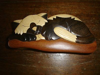 Vintage Four Piece Carved Wood Art Cat  Hidden Compartment Trinket  Box NEW