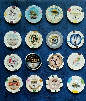 Mississippi Casino  $1 Chips Various Towns Some Obsolete -16 Lot